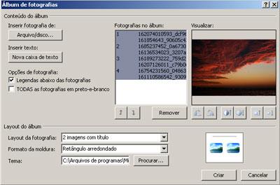 Configurações do Álbum - Clique na imagem para ampliar