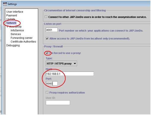 Configuração de Proxy no JAP