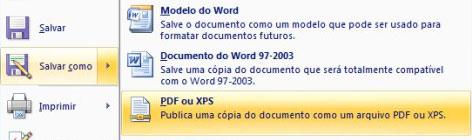 Salvando em PDF ou XPS no Menu Office